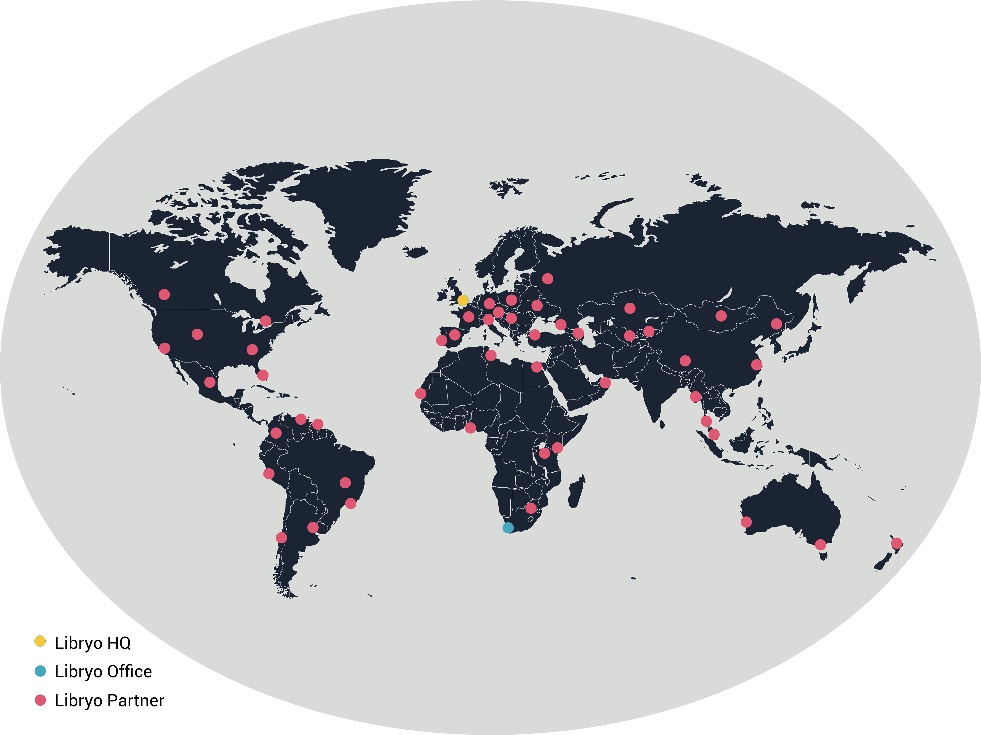 Map showing Libryo offices and partners